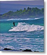 Surfer Rides The Outside Break Metal Print
