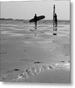 Surfer Silhouettes Metal Print