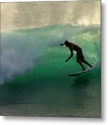 Surfer Surfing Blue Waves At Dumps Maui Hawaii Metal Print by Pierre Leclerc Photography