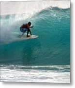 Surfer Surfing In The Tube Of Blue Waves At Dumps Maui Hawaii Metal Print