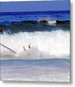 Surfers At Asilomar State Beach Three Oopsy Daisy Metal Print