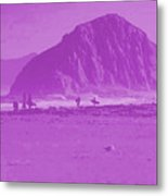 Surfers On Morro Rock Beach In Purple Metal Print