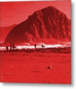 Surfers On Morro Rock Beach In Red Metal Print
