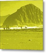 Surfers On Morro Rock Beach In Yellow Metal Print