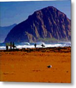 Surfers On Morro Rock Beach Metal Print