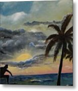 Surfers Sunset Metal Print