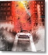 Surfing 5th Avenue Metal Print by Barry C Donovan