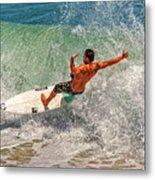 Surfing Action  Metal Print