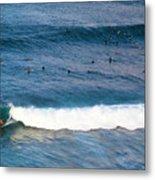Surfing At Honolua Bay Metal Print