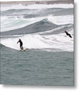 Surfing At Sennen Cove Cornwall Metal Print