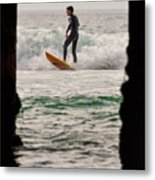 Surfing By The Pier Metal Print