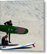 Surfing Couple Metal Print