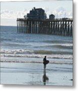 Surfing In San Clemente Metal Print