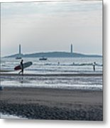 Surfing On Good Harbor Beach Gloucester Ma Metal Print