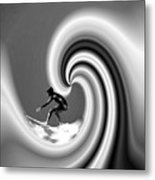 Surfing The Pacific In Black And White Metal Print