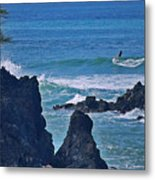 Surfing The Rugged Coastline Metal Print