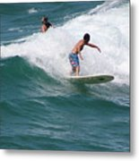 Surfing The White Wave At Huntington Beach Metal Print