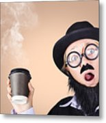 Surprised Business Person High On Coffee Metal Print