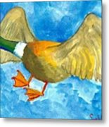 Surprised Flying Duck Detail Of Duck Meets Fairy Ballet Class Metal Print
