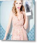Surprised Housewife With Burnt Out Ironing Board Metal Print