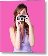 Surprised Woman Taking Picture With Old Camera Metal Print