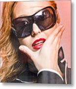 Surprised Young Woman Wearing Fashion Sunglasses Metal Print