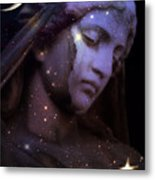 Surreal Celestial Angelic Face With Stars And Moon - Purple Moon Celestial Angel  Metal Print