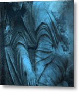 Surreal Cemetery Grave Mourner In Blue Sorrow  Metal Print