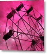 Surreal Fantasy Dark Pink Ferris Wheel Carnival Ride Starry Night - Pink Ferris Wheel Home Decor Metal Print