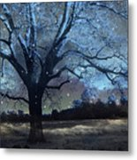 Surreal Fantasy Fairytale Blue Starry Trees Landscape - Fantasy Nature Trees Starlit Night Wall Art Metal Print
