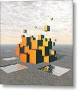 Surreal Floating Cubes Metal Print