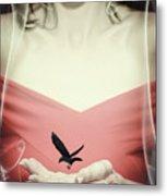 Surreal Image Of Woman With Bird Metal Print