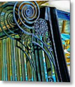 Surreal Reflection And Wrought Iron Metal Print