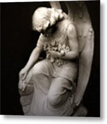 Surreal Sad Angel Kneeling In Prayer Metal Print