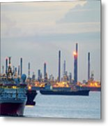 Survey And Cargo Ships Off The Coast Of Singapore Petroleum Refi Metal Print