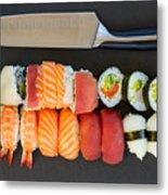 Sushi And Knife Metal Print