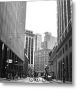 Sutter Street Cyclists - San Francisco Street View Black And White  Metal Print