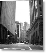 Sutter Street - San Francisco Street View Black And White  Metal Print