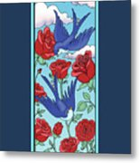 Swallows And Roses Metal Print