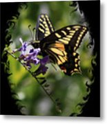 Swallowtail Butterfly 1 With Swirly Frame Metal Print