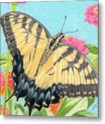 Swallowtail Butterfly And Zinnias Metal Print