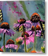Swallowtails And Cone Flowers Metal Print