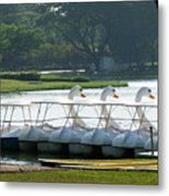 Swan Boat In A Lake Metal Print
