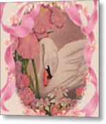 Swan In Pink Card Metal Print