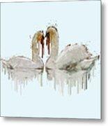 Swan Love Acrylic Painting Metal Print