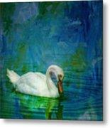 Swan On A Blue And Green Lake Metal Print