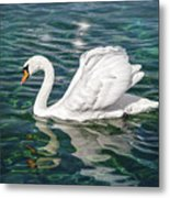Swan On Lake Geneva Switzerland  Metal Print