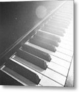 Swan Song Music Piano Keys Black And White Metal Print