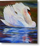 Swan Wildlife Painting Metal Print