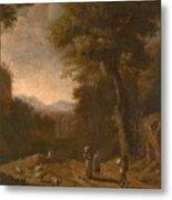 Swanevelt, Herman Van Woerden, 1603 - Paris, 1655 Landscape With Travellers And A Shepherd 1635 - 16 Metal Print